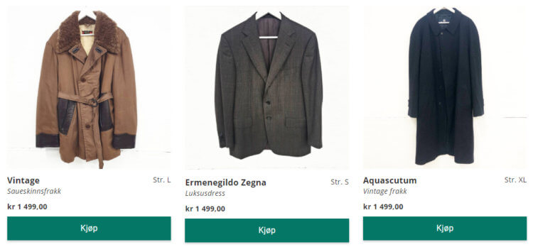 Bildet viser noen av de dyreste plaggene på Fretex.no