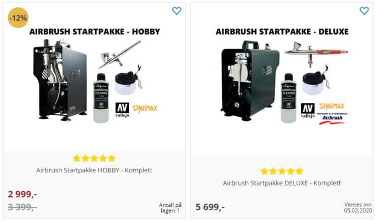Bildet viser to av Airbrush-produktene på Gamezone.no