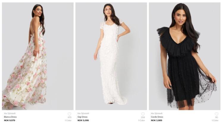 Bildet viser noen av de mest eksklusive kjolene til NA-KD