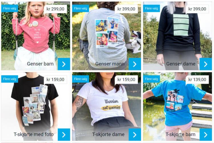 Bildet viser noen av valgene man har når man skal kjøpe klær med valgfri tekst og foto på.