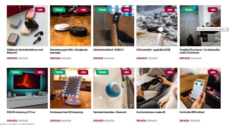 Bildet viser noen av produktene som selges på Sparnet.no