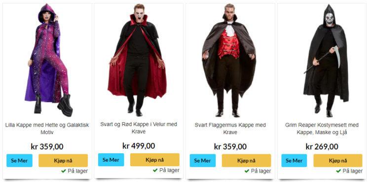 Bildet viser noen av kostymene som kan kjøpes på Superkul.no