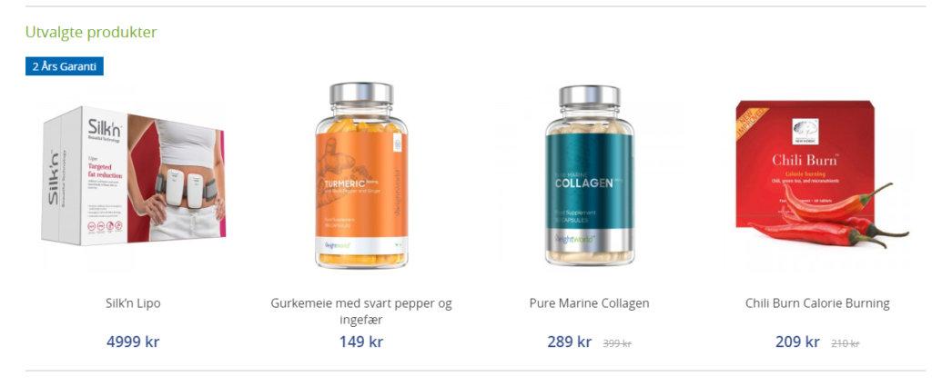 Bildet viser noen av produktene man får kjøpt på WeightWorld.no