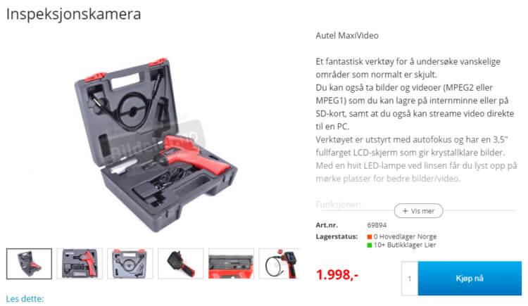 Bildet viser et av produktene på Bildeler.no.