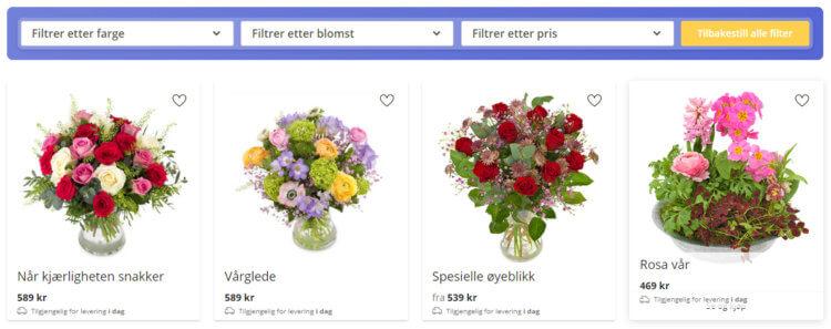 Bildet viser filtreringsfunksjonen for søk på blomster på Euroflorist.no