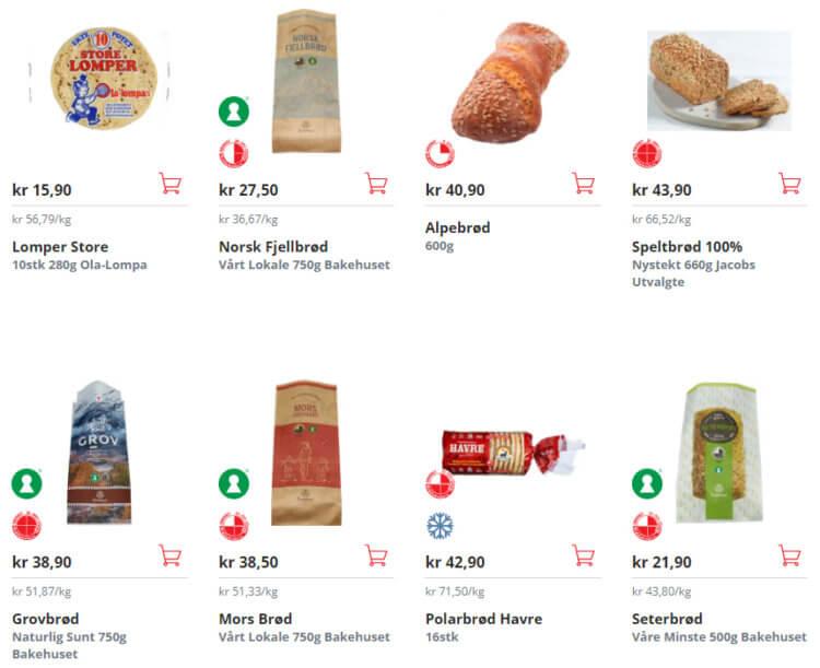 Bildet viser noen av meieriproduktene til Spar.no