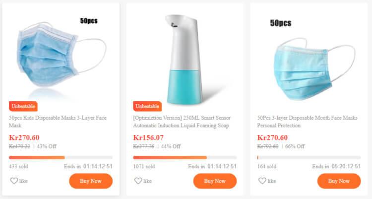 Bildet viser noen av tilbudsvarene på Banggood.com