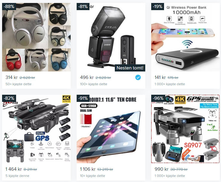 """Bildet viser noen av produktene i kategorien """"Gadgets"""" på Wish.com"""