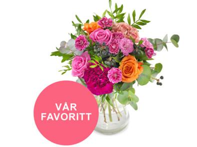 Vakker blomsterbukett – rett på døren!