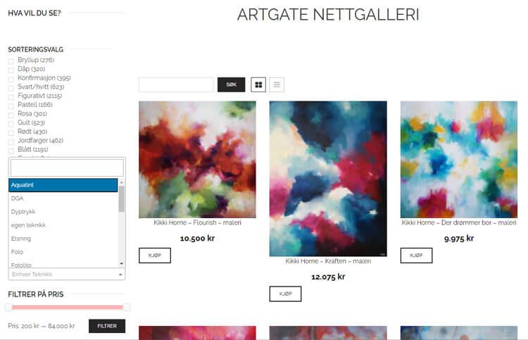 Bildet viser blant annet filtreringsfunksjonene på Artgate.no