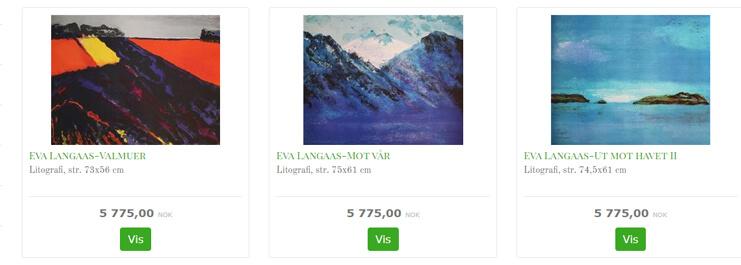 Bildet viser noen av kunstverkene til Eva Langaas.