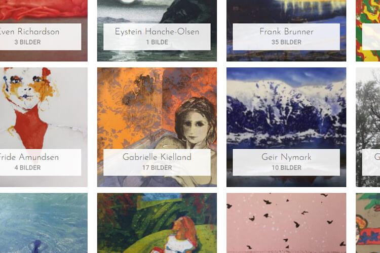 Bildet viser noen av kunstverkene i utvalget på D40.no
